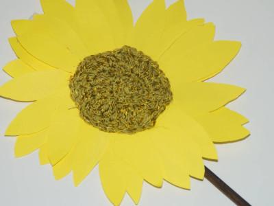 Sonnenblume Papier Wolle
