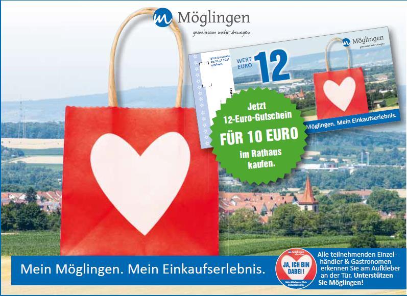 Bild einer roten Einkaufstüte mit weißem Herz. Daneben Gutschein 12€. Im Hintergurnd Bild von Möglinger Landschaft mit Kirchturm.